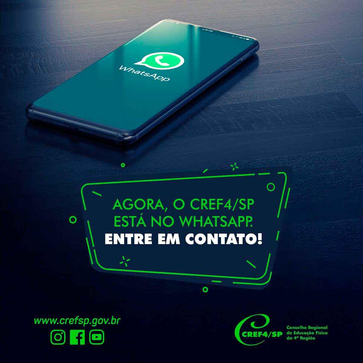 Agora o CREF4/SP também está disponível pelo WhatsApp