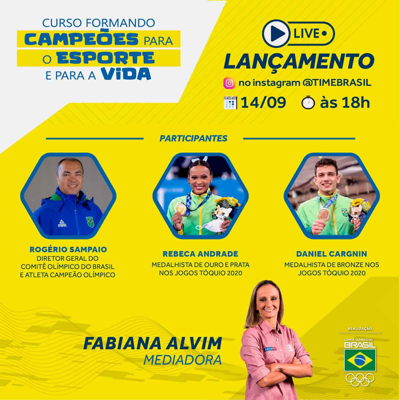 Rebeca Andrade e Daniel Cargnin participam de lançamento de curso do Programa de Carreira do Atleta do COB que acontece hoje
